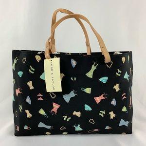 Lord & Taylor Black Purse Handbag With Pattern